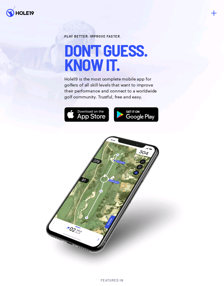 Hole19 - Golf GPS and Scoring app  Web Design