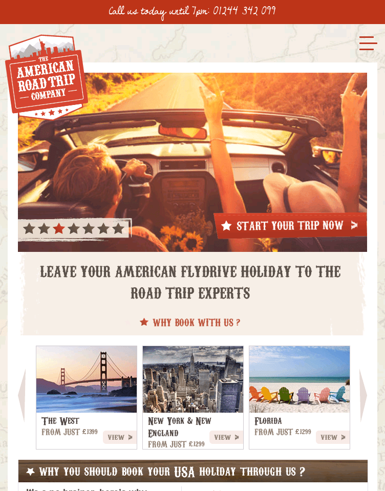 The American Road Trip Company  Web Design