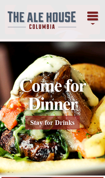 Columbia Bar, Restaurant, Nightlife | The Ale House Columbia  Web Design