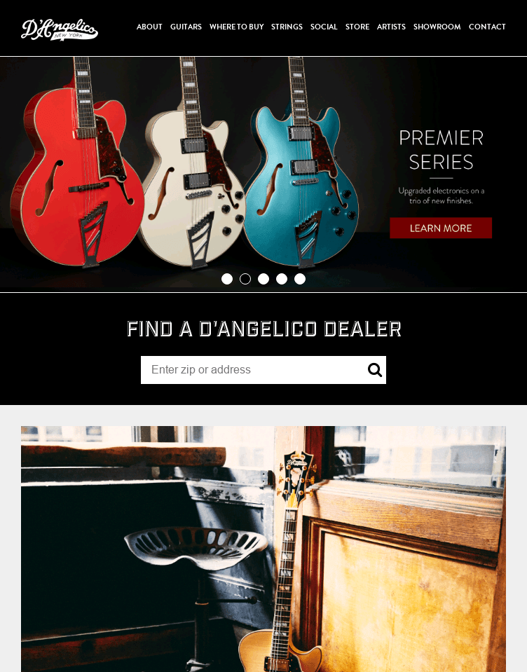 D'Angelico Guitars  Web Design