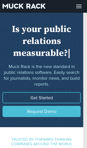 Muck Rack, public relations website  Web Design