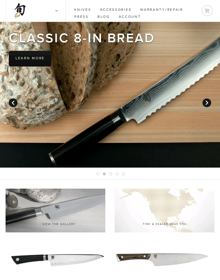 Shun Cutlery, knives  Web Design
