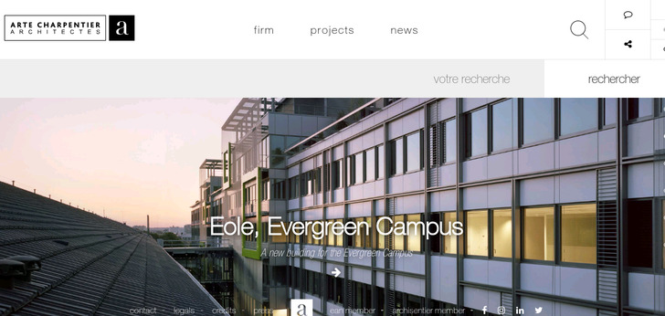 Arte charpentier architectes website has a great web for Architecture design websites free