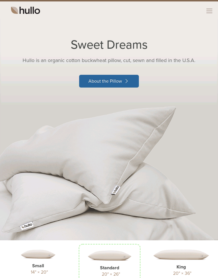 Hullo Pillow – Organic & All-natural buckwheat pillow.	  Web Design