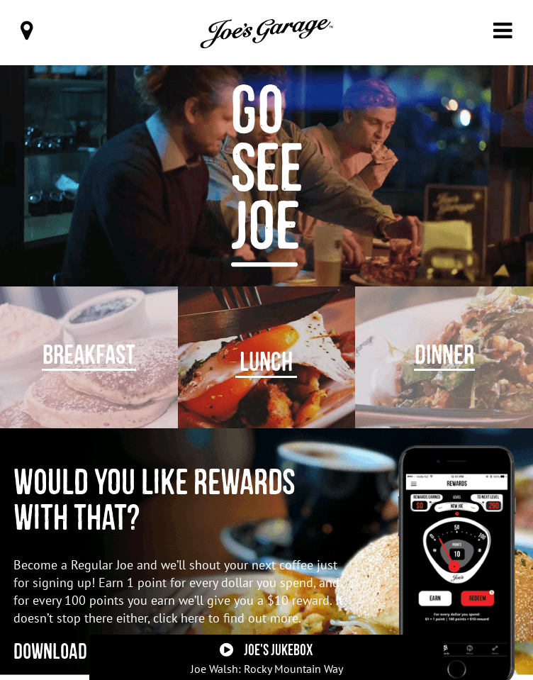 Joes Garage Restaurant, Cafe & Bar NZ  Web Design