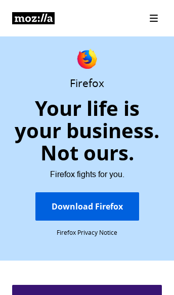 Mozilla, Internet for people, not profit  Web Design