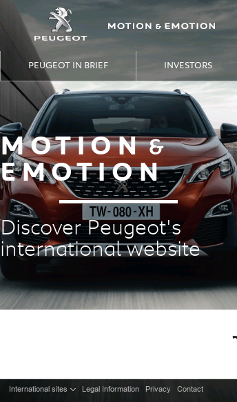 Peugeot international - Motion & Emotion  Web Design