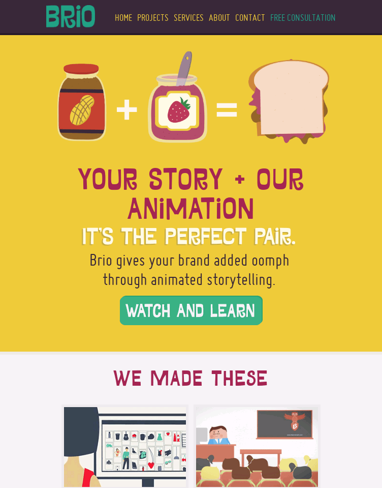 Brio: Animated explainer videos, animation for the web and TV  Web Design