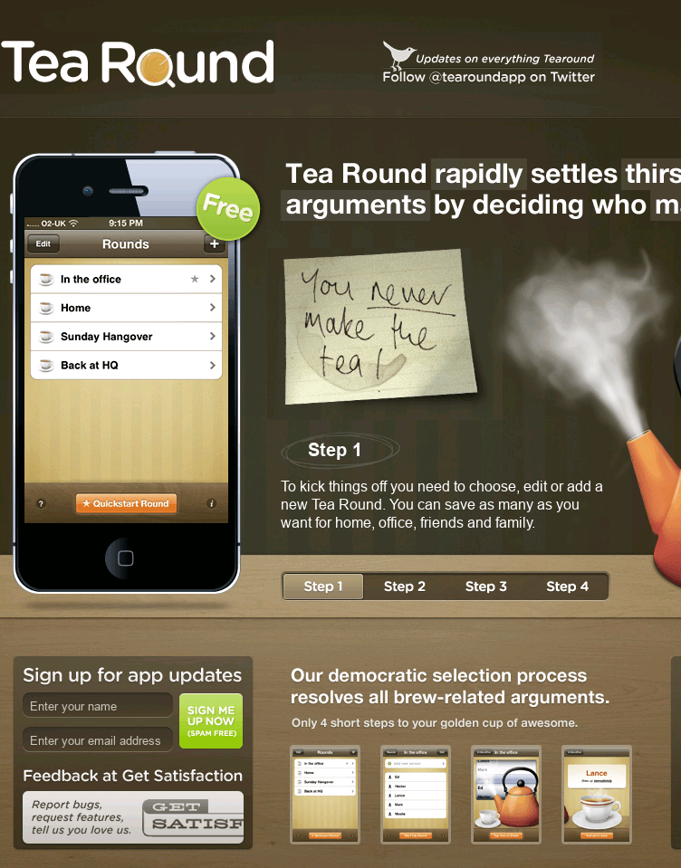Tea Round App  Web Design
