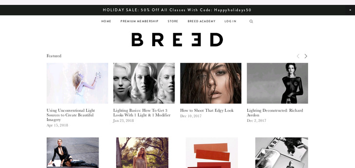 Breed Fashion Photography Workshops website has a Great Web Design ...