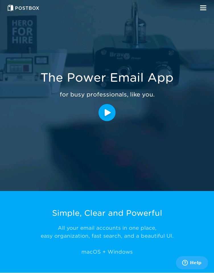 Postbox e-mail App  Web Design