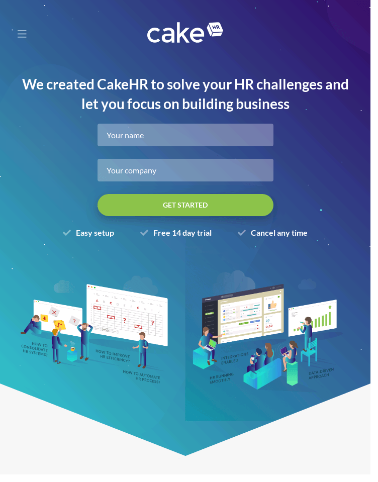CakeHR, Management Software   Web Design