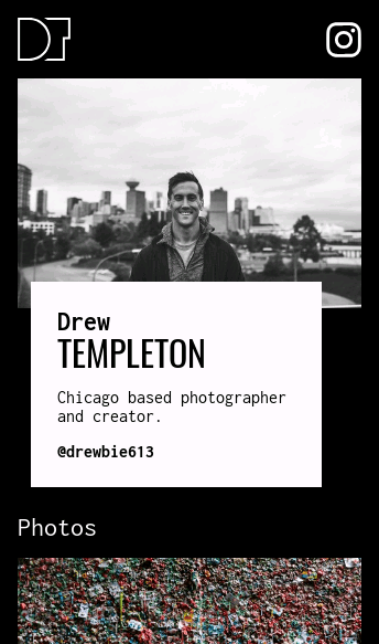 Drew Templeton, photographer  Web Design