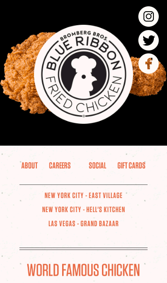 Blue Ribbon Fried Chicken  Web Design