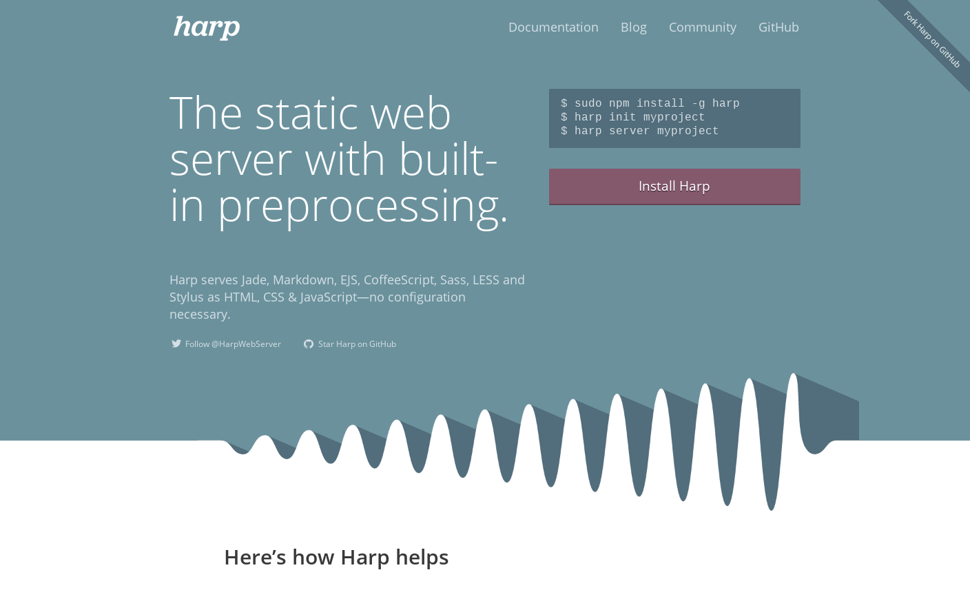 Harp, the static web server with built-in preprocessing
