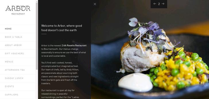 Arbor restaurant website has a great web design best