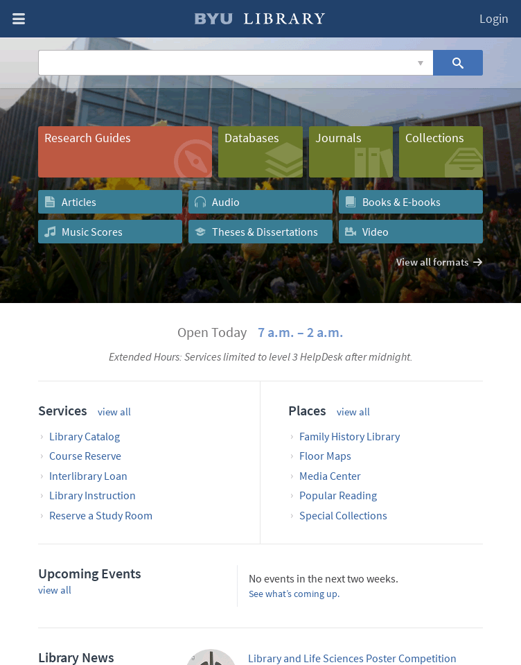 BYU Library  Web Design