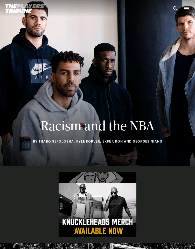 The Players' Tribune  Web Design