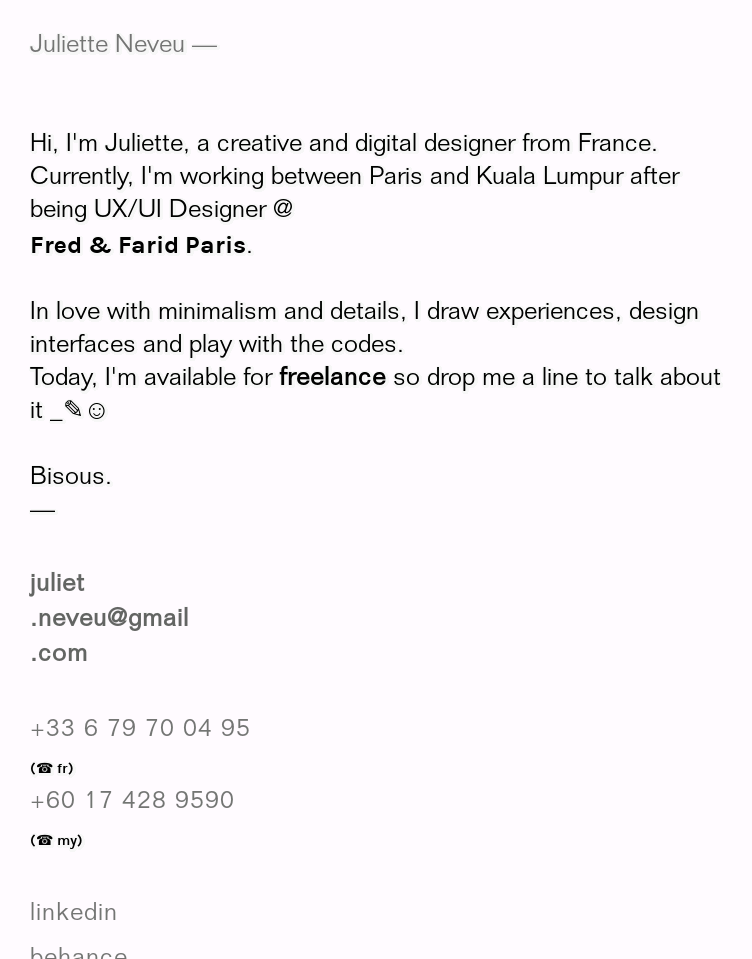 juliette n digital designer  Web Design
