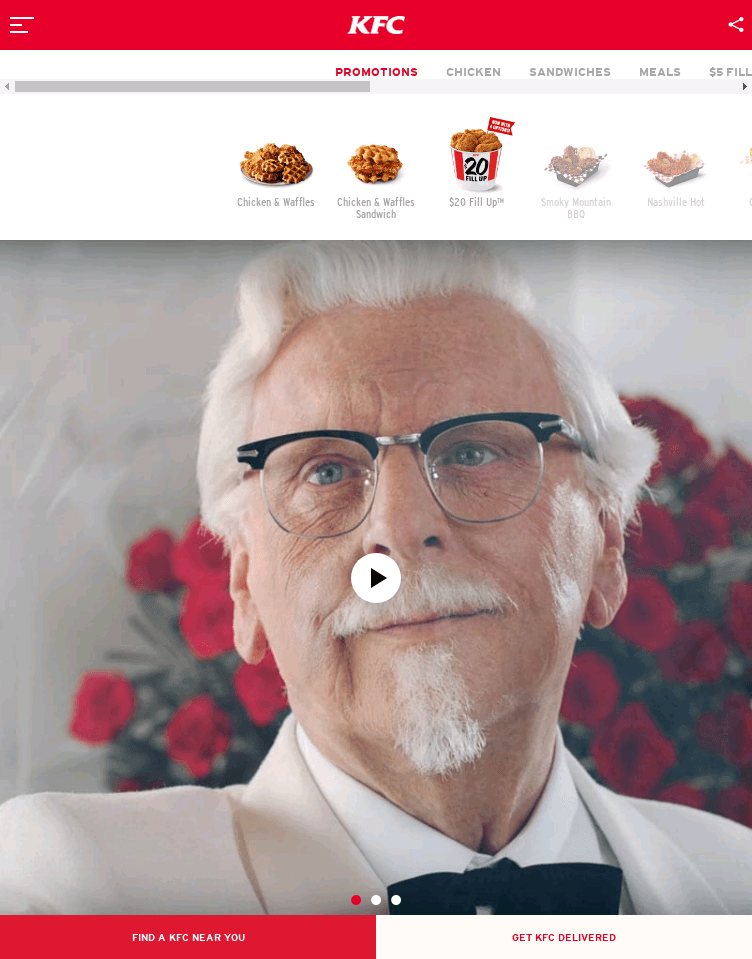 KFC: Finger Lickin' Good  Web Design