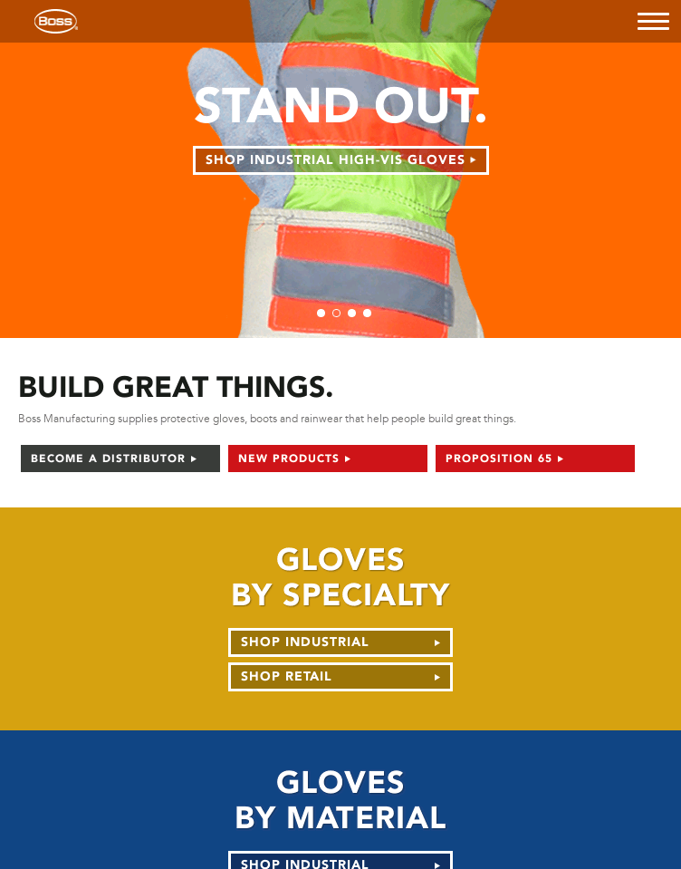 Boss Protective Gloves, Boots and Rainwear  Web Design