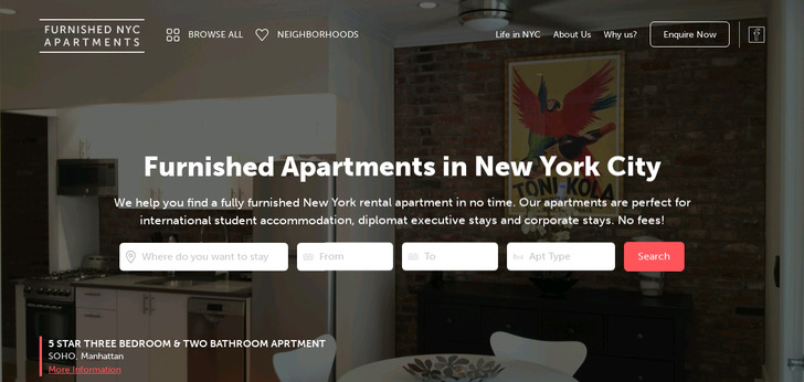 Furnished NYC Apartments Website Has A Great Web Design Best Web Fascinating Apartment Website Design