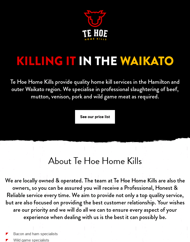 Te Hoe Home Kills  Web Design