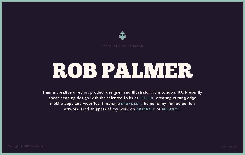 Rob Palmer Website Is A Web Design Inspiration