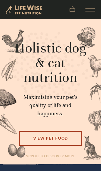 LifeWise pet food Australia, natural dog and cat food  Web Design