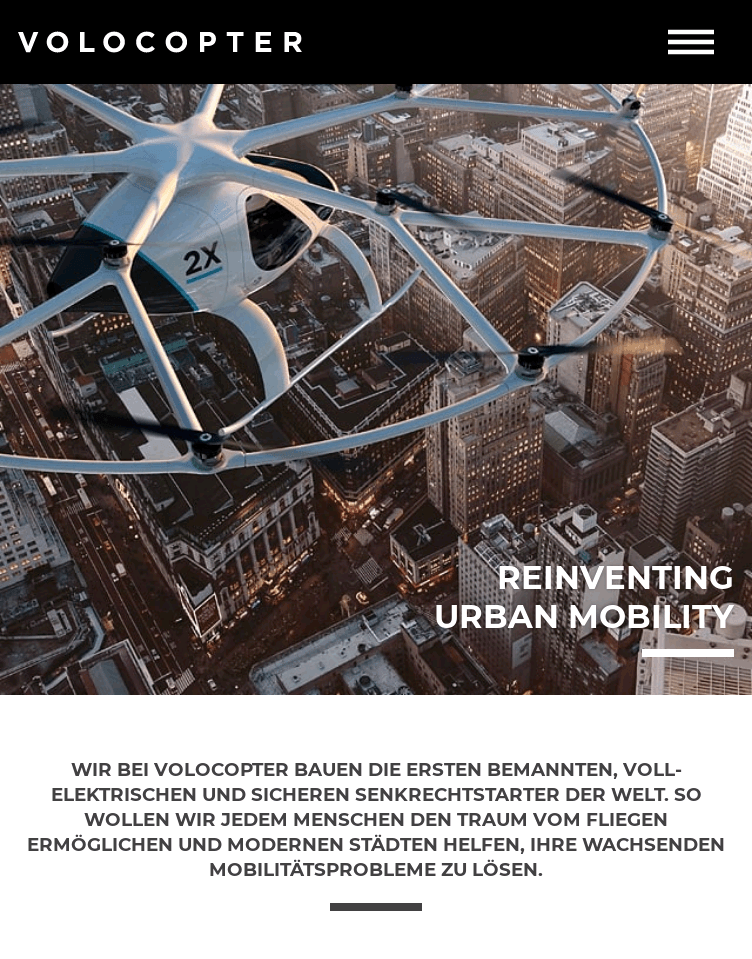 Volocopter  Web Design