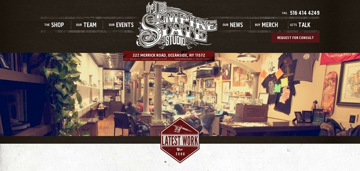 Empire state tattoo studio website has a great web design for Tattoo nightmares shop website