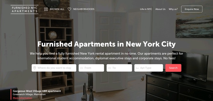 Furnished nyc apartments website has a great web design for Apartment web design