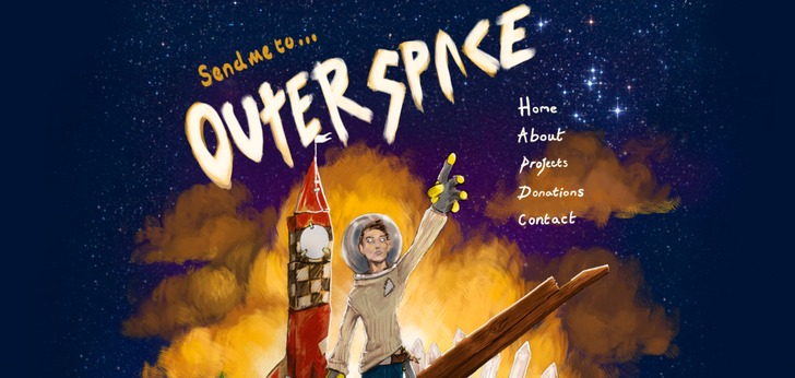 Send me to outer space website has a great web design for Outer space design